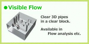 Visible flow. Clear pipes in a clear block.
